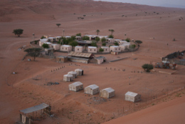 A zoomed-in view of the camp from the top
